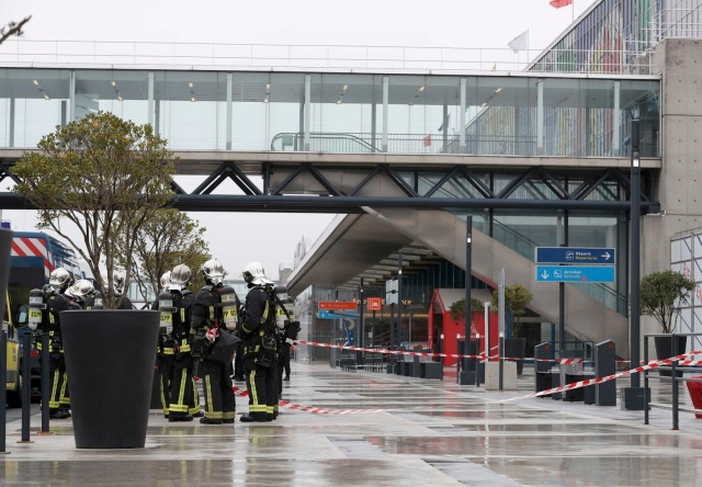 Emergency services at Orly airport southern terminal after a shooting incident near Paris, France March 18, 2017. REUTERS/Christian Hartmann