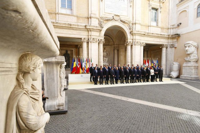 European Union leaders pose for a family photo during a meeting on the 60th anniversary of the Treaty of Rome, in Rome, Italy March 25, 2017. REUTERS/Tony Gentile