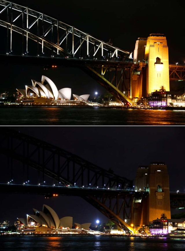 A combination photo shows the Sydney Harbour Bridge and Opera House before and during the tenth anniversary of Earth Hour in Sydney, Australia, March 25, 2017. REUTERS/David Gray