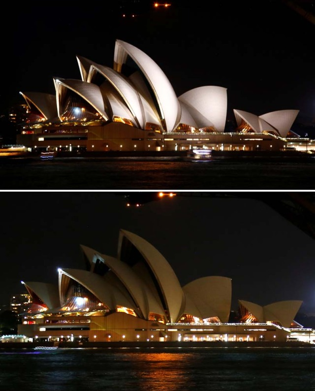 A combination photo shows the Sydney Opera House before and during the tenth anniversary of Earth Hour in Sydney, Australia, March 25, 2017. REUTERS/David Gray