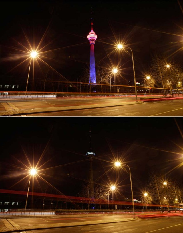 A combination photo shows a view of China Central Radio and Television Tower before (top) and during Earth Hour in Beijing, China March 25, 2017. REUTERS/Jason Lee