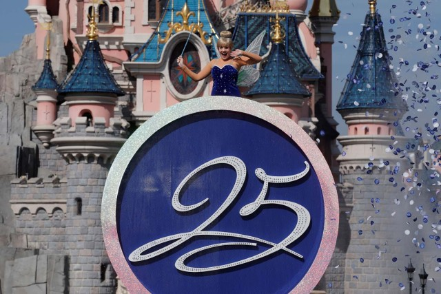 Disney character Tinker Bell attends the 25th anniversary of the park, at Disneyland Paris in Marne-la-Vallee, near Paris, France, March 25, 2017. REUTERS/Benoit Tessier