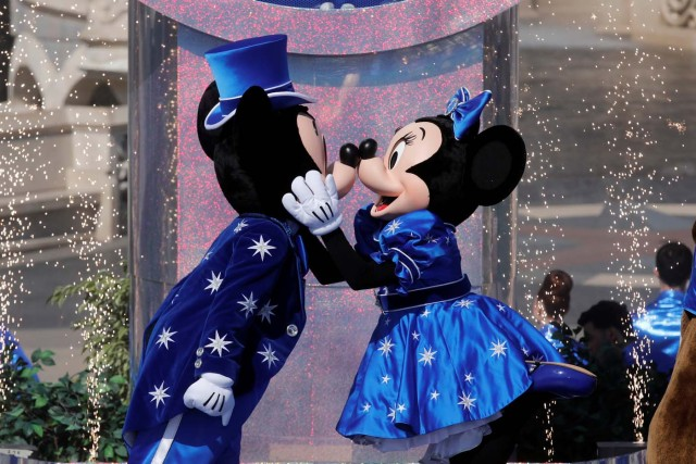 Disney characters Mickey Mouse and Minnie Mouse attend the 25th anniversary of Disneyland Paris, in Marne-la-Vallee, near Paris, France March 25, 2017. REUTERS/Benoit Tessier