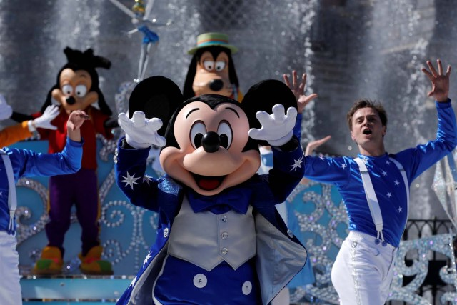 Disney character Mickey Mouse attends the 25th anniversary of Disneyland Paris at the park, in Marne-la-Vallee, near Paris, France, March 25, 2017. REUTERS/Benoit Tessier