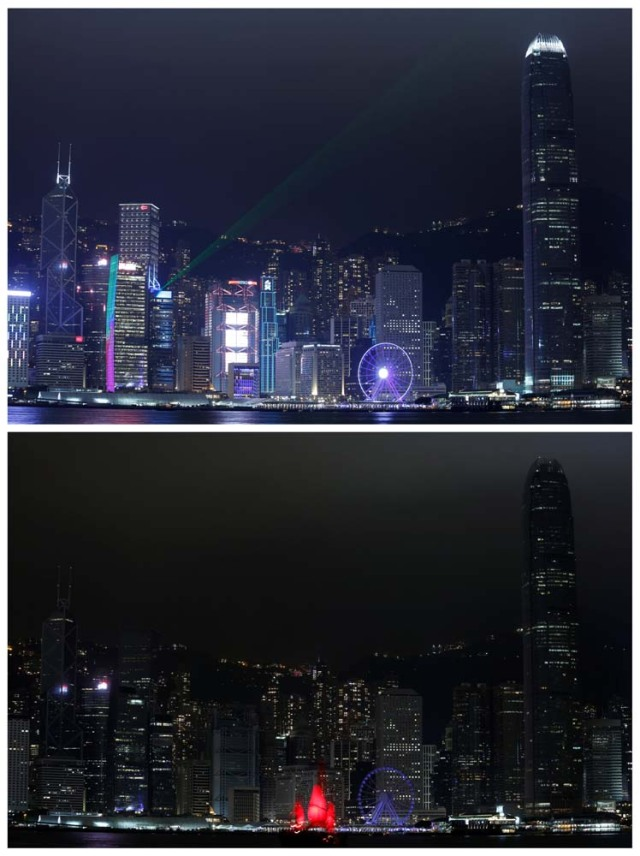 A combination picture showing laser light beams as buildings are lighted up and a tourist junk sailing past before (top) and during (bottom) Earth Hour, at the financial Central district in Hong Kong, China March 25, 2017. REUTERS/Bobby Yip