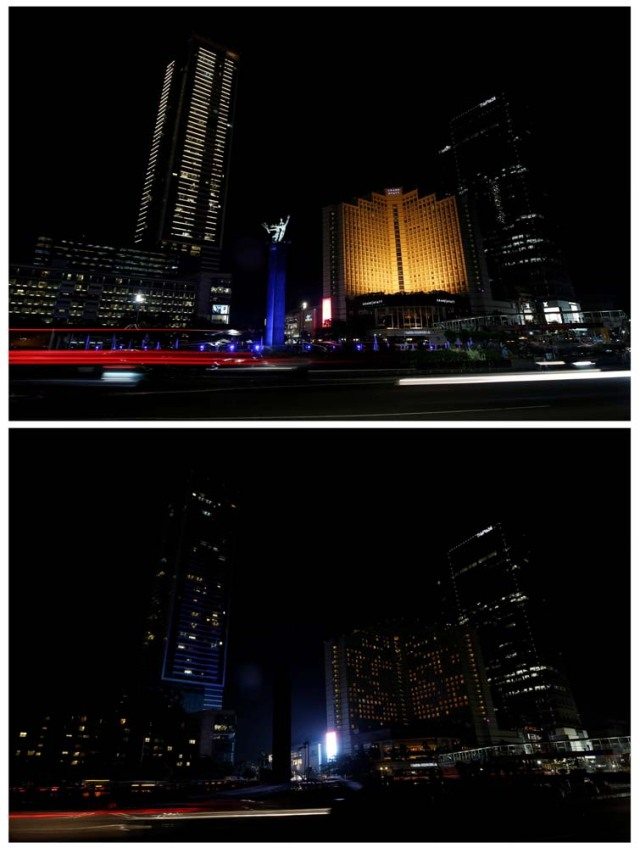 A combination photo shows a view of the buildings around Selamat Datang Monument, also referred to as the Bunderan HI roundabout, before (top) and during (bottom) Earth Hour in Jakarta, Indonesia March 25, 2017. REUTERS/Darren Whiteside