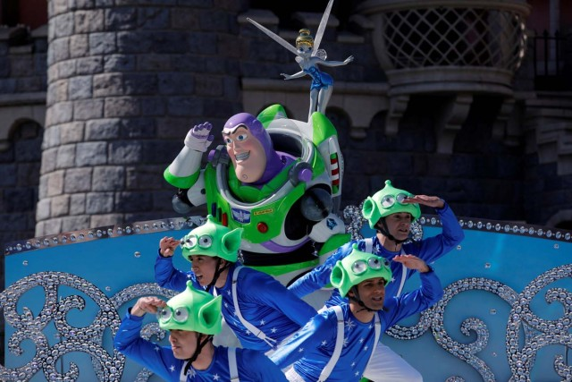 Disney character Buzz Lightyear attends the 25th anniversary of the park, at Disneyland Paris in Marne-la-Vallee, near Paris, France, March 25, 2017. REUTERS/Benoit Tessier