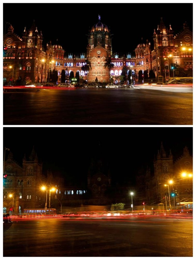 A combination picture shows the Chhatrapati Shivaji Terminus (CST), formerly known as Victoria Terminus, before (top) and after the lights were turned off for Earth Hour in Mumbai, India, March 25, 2017. REUTERS/Shailesh Andrade