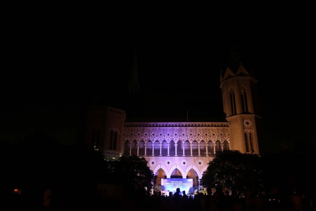 The Frere Hall building is seen illuminated minutes before Earth Hour in Karachi, Pakistan March 25, 2017. REUTERS/Akhtar Soomro