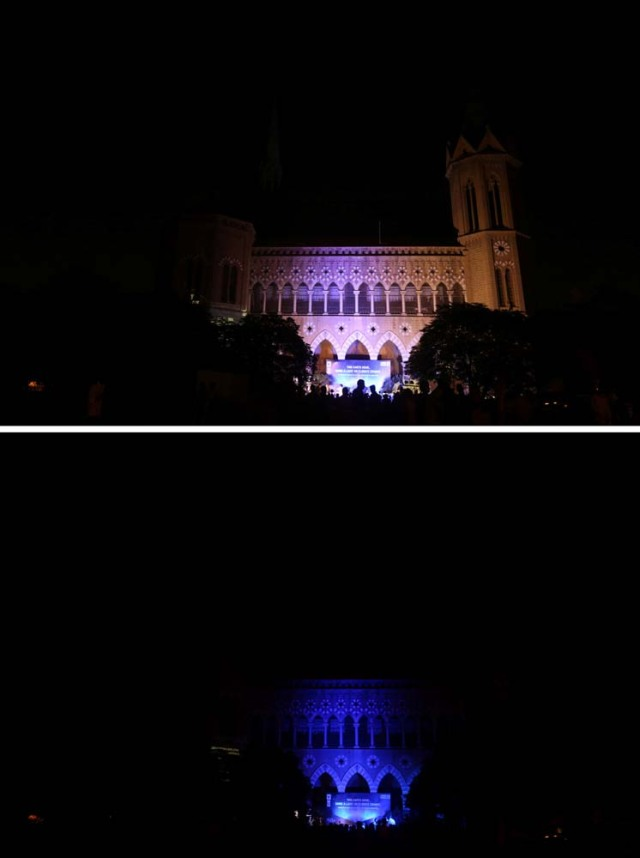 A combination picture shows the Frere Hall building, before (top) and after the lights were turned off for Earth Hour in Karachi, Pakistan, March 25, 2017. REUTERS/Akhtar Soomro