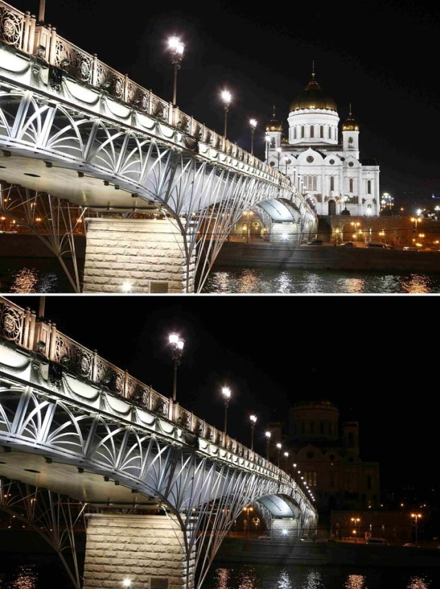A combination photo shows the Cathedral of Christ the Saviour, before (top) and after the lights were switched off for Earth Hour in central Moscow, Russia, March 25, 2017. REUTERS/Sergei Karpukhin