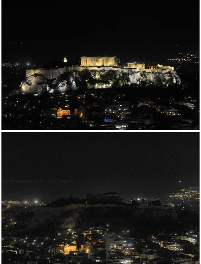A combination picture shows a view of the hill of the Acropolis before (top) and during Earth Hour in Athens, Greece, March 25, 2017. REUTERS/Michalis Karagiannis