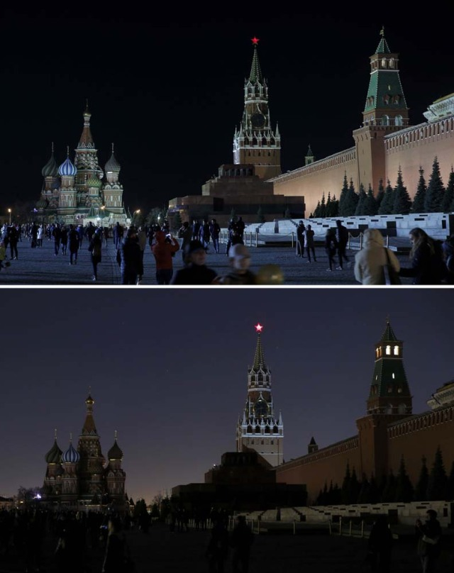 A combination photo shows the St. Basil's Cathedral (L) and the Kremlin wall, before (top) and after the lights were switched off for Earth Hour in Red Square in central Moscow, Russia, March 25, 2017. REUTERS/Maxim Shemetov