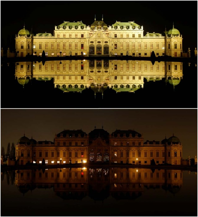 A combination photo shows Belvedere palace and its reflection in a pond before (top) and after the lights were switched off for Earth Hour in Vienna, Austria, March 25, 2017. REUTERS/Heinz-Peter Bader
