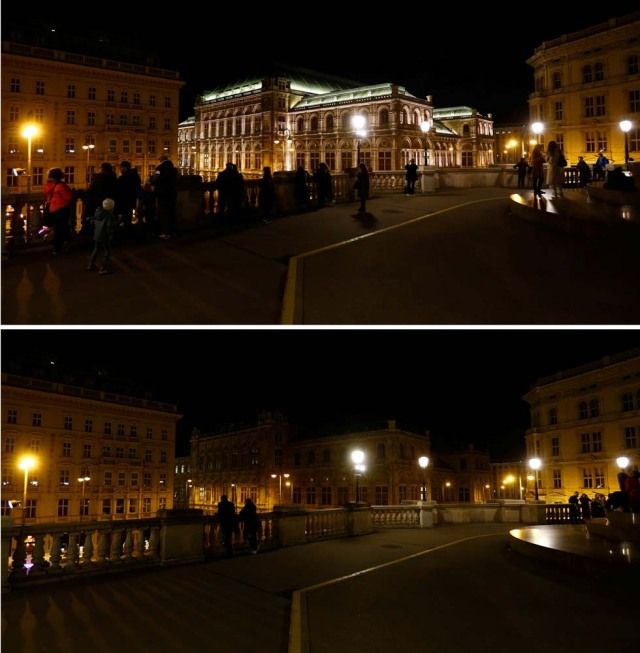 A combination photo shows the State Opera house (Staatsoper) before and after the lights were switched off for Earth Hour in Vienna, Austria, March 25, 2017. REUTERS/Leonhard Foeger