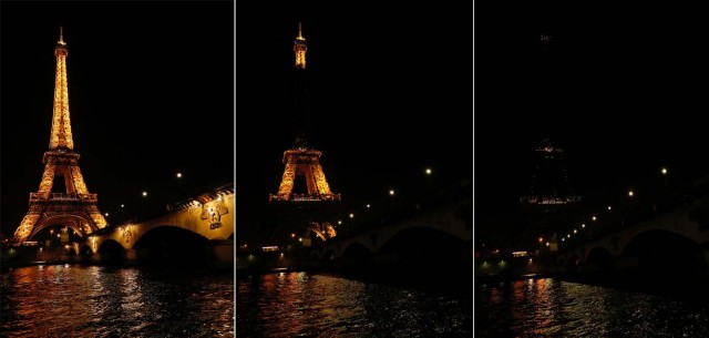 A combo picture shows the Eiffel Tower before (L) and during Earth Hour in Paris, France, March 25, 2017 at which lights are switched off around the world at 8:30 p.m. on Saturday evening to mark the 10th annual Earth Hour and to draw attention to climate change. REUTERS/Philippe Wojazer