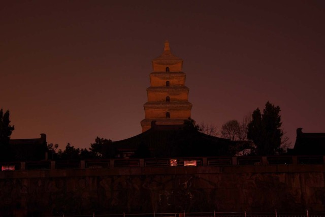 Dayan Pagoda is seen during Earth Hour in Xi'an, Shaanxi province, China, March 25, 2017. Picture taken March 25, 2017. REUTERS/Stringer ATTENTION EDITORS - THIS IMAGE WAS PROVIDED BY A THIRD PARTY. EDITORIAL USE ONLY. CHINA OUT. NO COMMERCIAL OR EDITORIAL SALES IN CHINA.