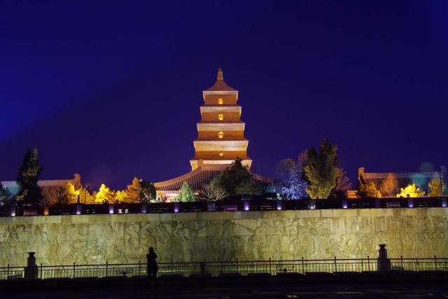 Dayan Pagoda is seen before Earth Hour in Xi'an, Shaanxi province, China, March 25, 2017. Picture taken March 25, 2017. REUTERS/Stringer ATTENTION EDITORS - THIS IMAGE WAS PROVIDED BY A THIRD PARTY. EDITORIAL USE ONLY. CHINA OUT. NO COMMERCIAL OR EDITORIAL SALES IN CHINA.