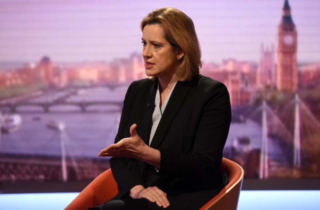 Britain's Home Secretary Amber Rudd is seen appearing on the BBC's Andrew Marr Show in this photograph received via the BBC in London, Britain March 26, 2017. Jeff Overs/BBC/Handout via REUTERS - ATTENTION EDITORS - THIS IMAGE WAS SUPPLIED BY A THIRD PARTY. FOR EDITORIAL USE ONLY. NO RESALES. NO ARCHIVES. FOR EDITORIAL USE ONLY. NOT FOR SALE FOR MARKETING OR ADVERTISING CAMPAIGNS. THIS IMAGE HAS BEEN SUPPLIED BY A THIRD PARTY. IT IS DISTRIBUTED, EXACTLY AS RECEIVED BY REUTERS, AS A SERVICE TO CLIENTS