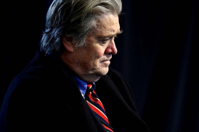 FILE PHOTO: White House Senior Advisor Steve Bannon attends a roundtable discussion held by U.S. President Donald Trump with auto industry leaders at the American Center for Mobility in Ypsilanti Township, Michigan, U.S., March 15, 2017. REUTERS/Jonathan Ernst/File Photo