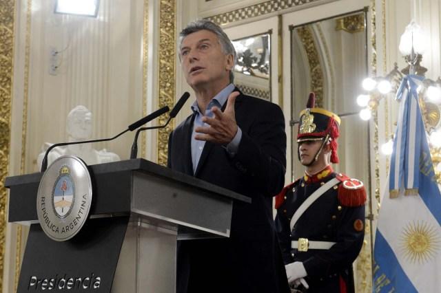 Mauricio Macri, presidente de Argentina. EFE/PRESIDENCIA DE ARGENTINA/SOLO USO EDITORIAL/NO VENTAS