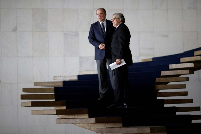 Organization of American States (OAS) Secretary-General Luis Almagro (R) greets Brazil's Foreign Minister Aloysio Nunes, before a meeting at Itamaraty Palace in Brasilia, Brazil April 10, 2017. REUTERS/Ueslei Marcelino