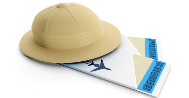 3d illustration: Cap traveler and airline tickets