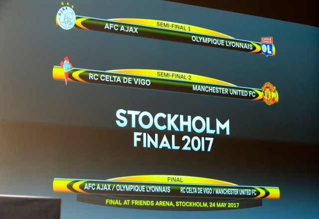 Football Soccer - UEFA Europa League Semi-Final Draw - Nyon, Switzerland - 21/4/17 A screen displaying the order after the draw of the UEFA Europa League semi-finals Reuters / Pierre Albouy Livepic