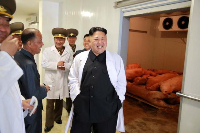 El líder de Corea del Norte, Kim Jong Un, visita la granja de cerdos Thaechon del Ejército Popular de Corea. La foto es de la Agencia Central de Noticias de Corea del Norte (KCNA) del 23 de abril de 2017. KCNA/A través de REUTERS.  Corea del Norte dijo el domingo que está preparado para hundir un portaaviones estadounidense para demostrar su poderío militar, en momentos en que dos buques de la marina japonesa se unieron a un grupo de naves estadounidenses para realizar unos ejercicios militares en el oeste del Pacífico.