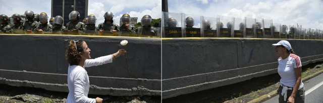(COMBO) This combination of pictures created on May 06, 2017 shows a Venezuelan opposition activist offering a flower (L) and another one shouting at members of the Bolivarian National Guard standing guard during a women's march aimed to keep pressure on President Nicolas Maduro, whose authority is being increasingly challenged by protests and deadly unrest, in Caracas. The death toll since April, when the protests intensified after Maduro's administration and the courts stepped up efforts to undermine the opposition, is at least 36 according to prosecutors. / AFP PHOTO / JUAN BARRETO