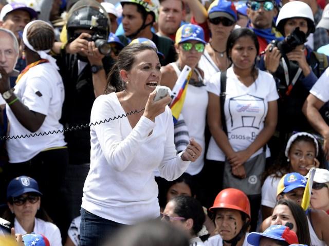 AFP PHOTO / FEDERICO PARRA / María Corina Machado en manifestación de este #6May