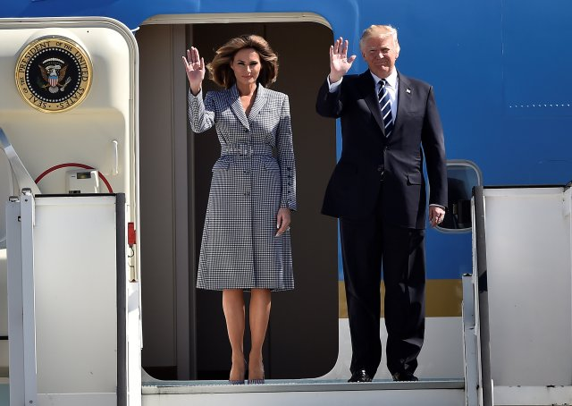 U.S. President Donald Trump and first lady Melania Trump arrive at the Brussels Airport, in Brussels, Belgium, May 24, 2017.       REUTERS/Hannah McKay