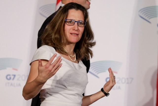 Chrystia Freeland, ministra de Relaciones Exteriores de Canadá. Foto: Reuters