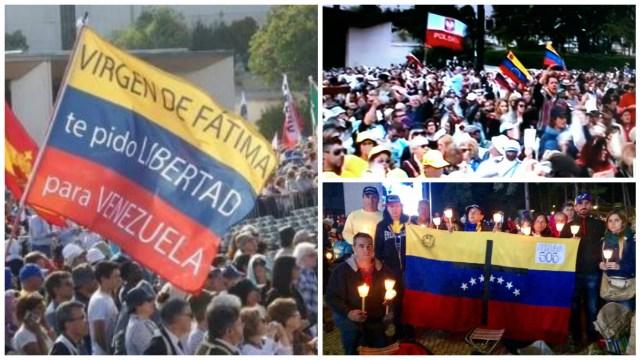 Venezolanos, hijos de portugueses, se hicieron notar en Fátima durante la misa que ofició el Papa y pidieron por la paz en Venezuela.