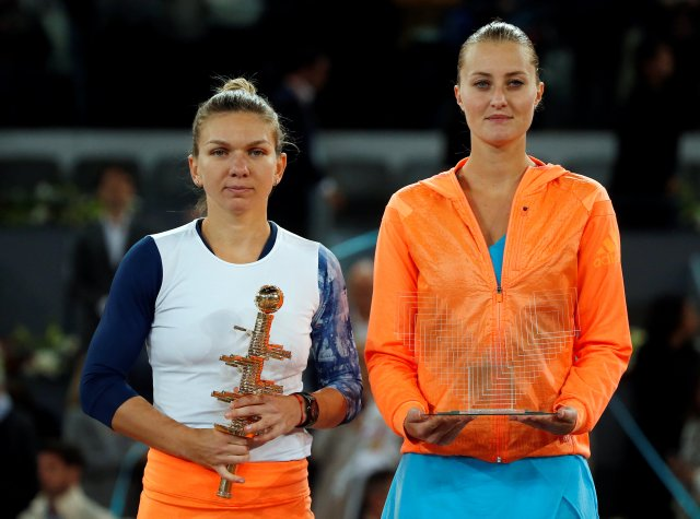 Tennis - WTA - Madrid Open - Women's Singles Final - Kristina Mladenovic of France v Simona Halep of Romania- Madrid, Spain - 13/5/17 - Halep and Mladenovic pose after their match. REUTERS/Susana Vera