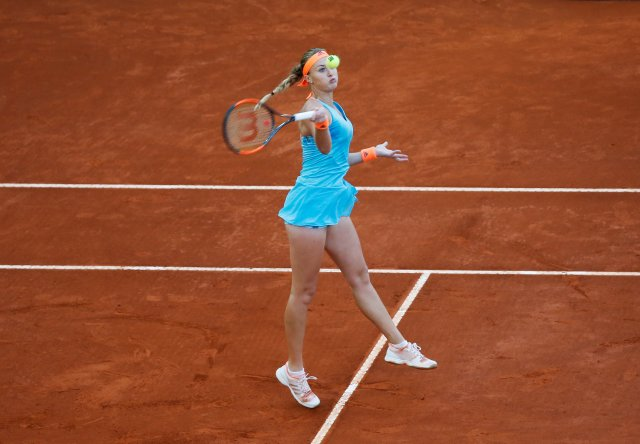 Tennis - WTA - Madrid Open - Women's Singles Semifinal - Svetlana Kuznetsova of Russia v Kristina Mladenovic of France - Madrid, Spain - 12/5/17 - Mladenovic returns the ball. REUTERS/Susana Vera