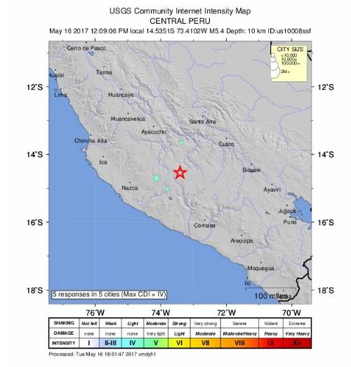 Sismo de magnitud 5 en Perú