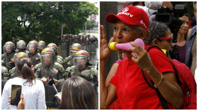 ¿Igualdad? A las oficialistas las dejaron completar su marcha y hasta entregaron documento en la Defensoría. Foto: AVN / LaPatilla