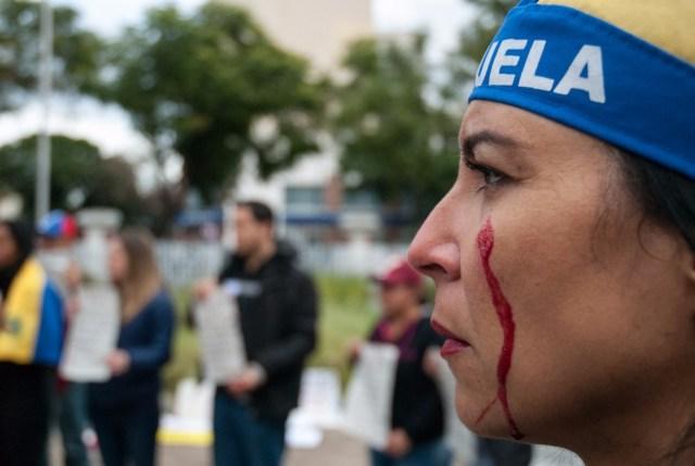 Una protesta de venezolanos en Argentina (Foto archivo)