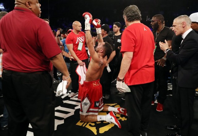 LAS VEGAS, NV - JUNE 17: Andre Ward celebrates after his light heavyweight championship bout against Sergey Kovalev at the Mandalay Bay Events Center on June 17, 2017 in Las Vegas, Nevada. Ward retained his title with a TKO in the eighth round.   Christian Petersen/Getty Images/AFP