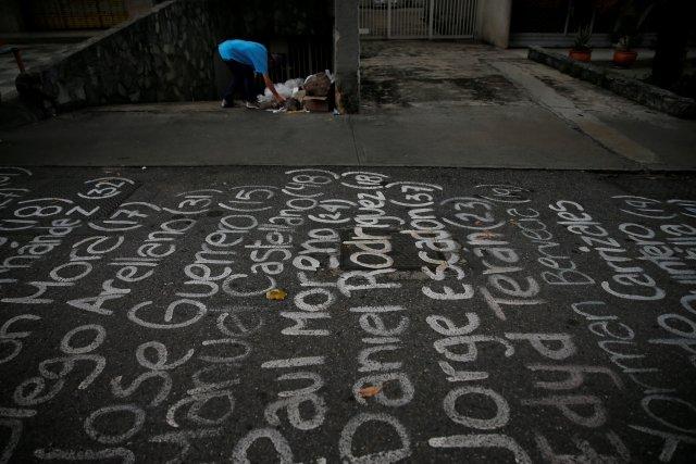 Los nombres de los caídos durante las protestas antigubernamentales han sido escritos por manifestantes en varias calles de Venezuela.  REUTERS/Ivan Alvarado