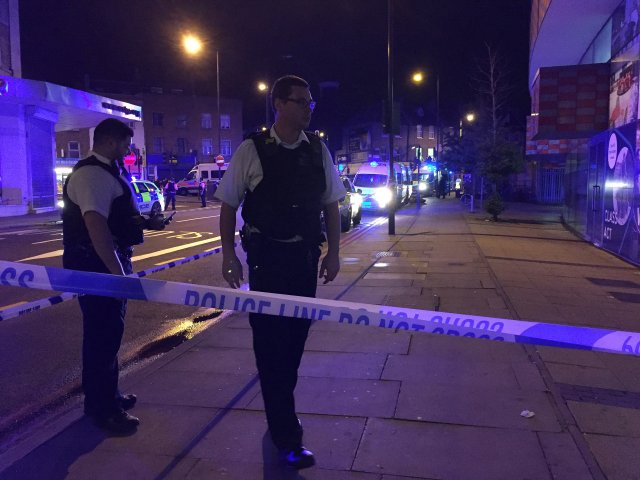 Police are seen near Finsbury Park as British police say there are casualties after reports of vehicle colliding with pedestrians in North London, Britain June 19, 2017. REUTERS/Ritvik Carvalho