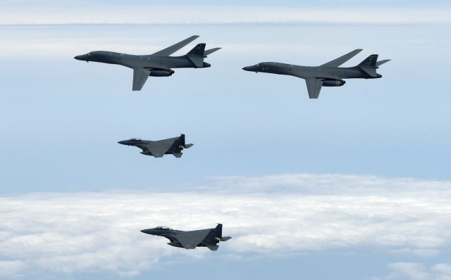 Two U.S. Air Force B-1B Lancers fly a mission with two South Korean air force F-15s in the vicinity of the Korean peninsula