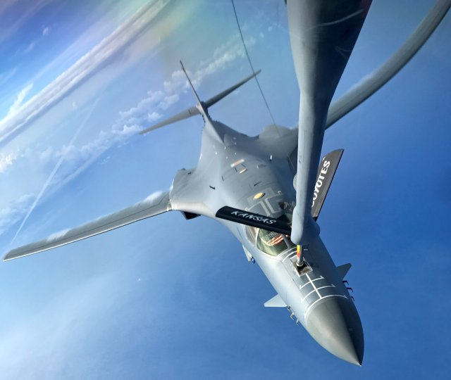 One of two U.S. Air Force B-1B Lancer aircraft is refueled during a mission to fly in the vicinity of the Korean peninsula