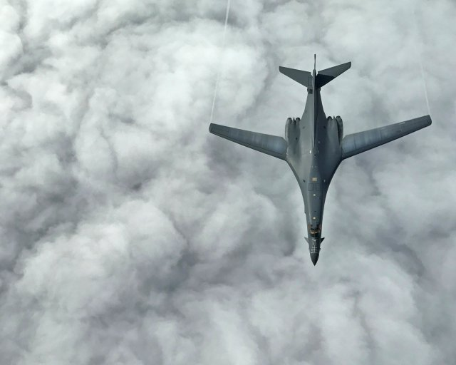 One of two U.S. Air Force B-1B Lancer aircraft during a mission to fly in the vicinity of the Korean peninsula