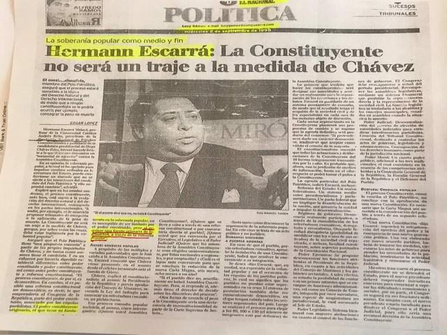 Foto de la edición impresa del diario El Nacional de fecha 2 de septiembre de 1998