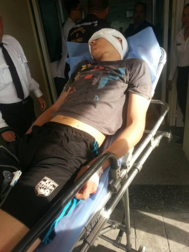 Luis Espino a de 16 años heridos por perdigón en Los Tulipanes. Foto: @DouglasJimenez