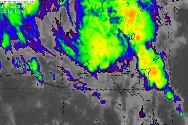 Imagen satelital del paso de Bret por Venezuela / Foto @INAC_Venezuela