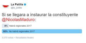 Si se instaura la constituyente Maduro no habrán elecciones, piensan los patilleros en la TWITTERENCUESTA