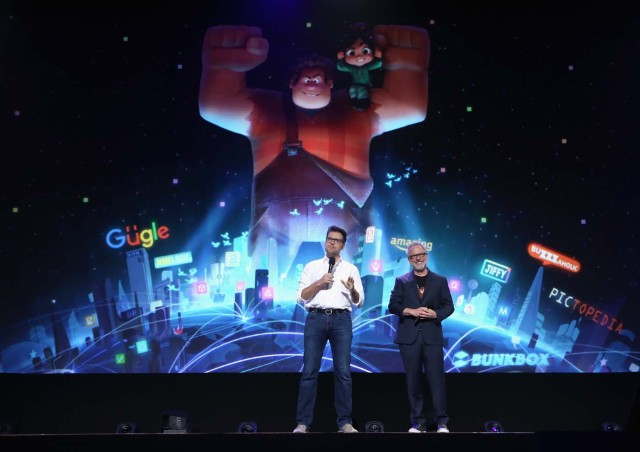 ANAHEIM, CA - JULY 14: Director Phil Johnston (L) and director Rich Moore of RALPH BREAKS THE INTERNET: WRECK-IT RALPH 2 took part today in the Walt Disney Studios animation presentation at Disney's D23 EXPO 2017 in Anaheim, Calif. RALPH BREAKS THE INTERNET: WRECK-IT RALPH 2 will be released in U.S. theaters on November 21, 2018. Jesse Grant/Getty Images for Disney/AFP